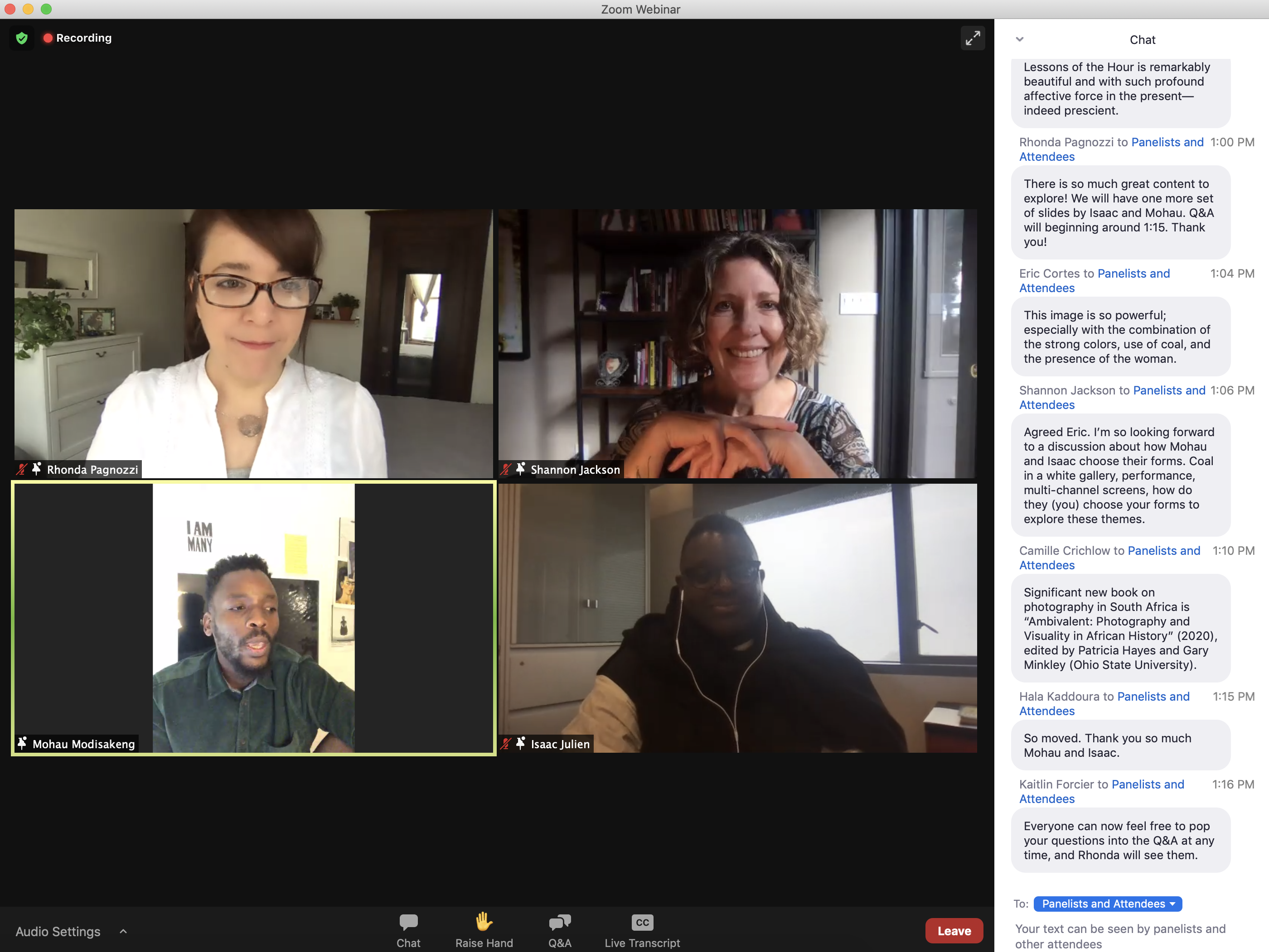 Oakland Museum of California Assistant Curator Rhonda Pagnozzi, Arts + Design Associate Vice Chancellor Shannon Jackson, South African artist Mohau Modisakeng, and filmmaker and installation artist Isaac Julien in conversation on Zoom webinar.
