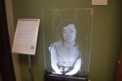 Laser cut images of Cal Alum who were forcibly removed from campus and forced into Japanese internment camps