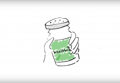 "Cartoon hand holding a salt-shaker that says ""healthify"" on it."