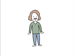A cartoon of a person with short brown hair, a black mustache, a green sweater, and blue pants.