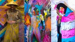 Three stills from three different videos. First, a person in patterned garb and a straw hat. Second, a person in a body suit covered in different colored paint and wearing two masks. Third, a person with a hijab on, covering their face with pink flowers in their hands and the transgender pride flag wrapped around them.