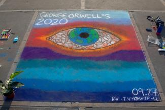 "Berkeley students worked on an illustration depicting the ""eye"" from George Orwell's novel 1984. (Photo courtesy of Emma Tracy)"
