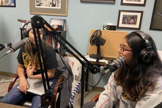 "Students Millie Hernandez (left) and Julie Lemus record a podcast in the fall 2019 Chicano Studies 159 course ""Mexican Migrations."" A state-of-the-art center for creating podcasts and other new media to lift up seldom-heard voices has received a Berkeley Changemaker Technology Innovation Grant."
