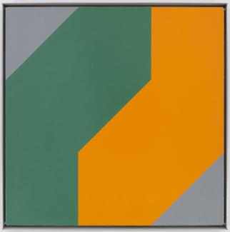 Frederick Hammersley: Me & thee, #14 1980; oil on linen; 24 x 24 in.; BAMPFA, gift of the Frederick Hammersley Foundation. © 2019 Frederick Hammersley Foundation / Artists Rights Society (ARS), New York