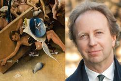 Fragment of Hieronymous Bosch's The Garden of Earthly Delights (left), and Joseph Koerner, a professor in Harvard's History of Art + Architecture department