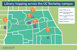 Library hopping across campus map.